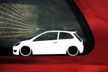 2x LOW Ford Mk6 Fiesta ST ,Lowered outline stickers / silhouette Decals